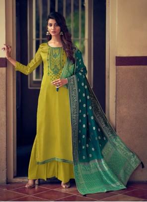 Green Silk Designer Palazzo Salwar Suit