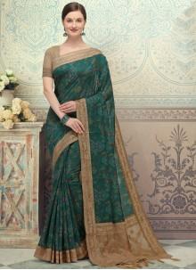 Green Printed Silk Designer Saree
