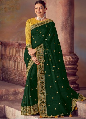 Green Silk Embroidered Classic Saree