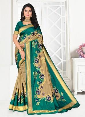 Green Silk Embroidered Designer Saree