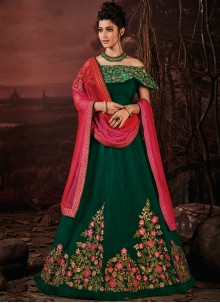Green Silk Embroidered Lehenga Choli