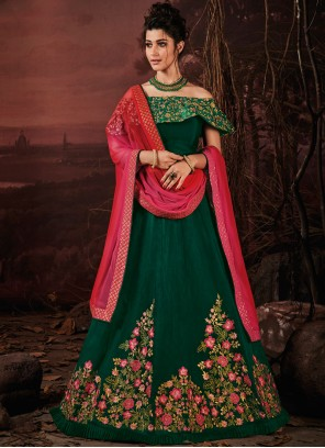 Green Silk Embroidered Lehenga Choli