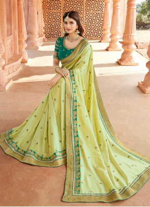 Green Silk Engagement Classic Designer Saree
