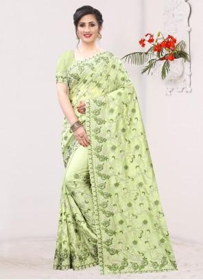 Green Silk Festival Designer Saree