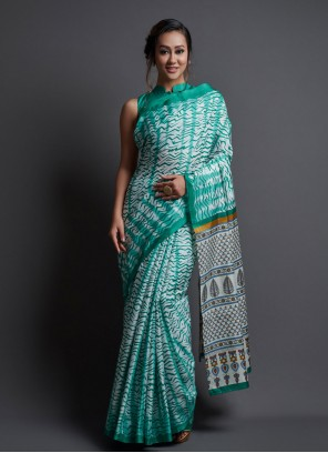 Green Silk Festival Printed Saree