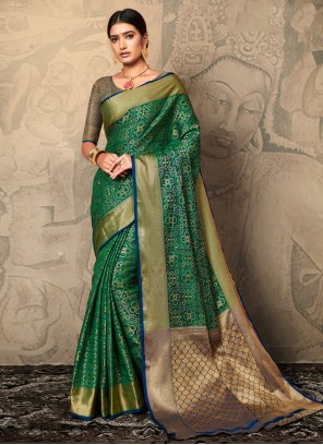 Green Silk Festival Trendy Saree