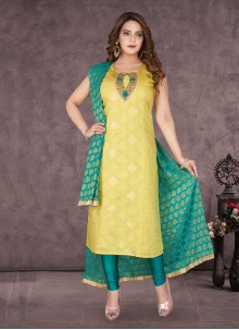 Green Silk Hand Embroidery Readymade Suit
