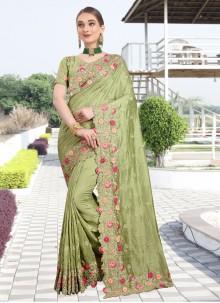 Green Silk Stone Classic Designer Saree