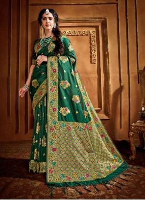 Green Silk Weaving Contemporary Saree