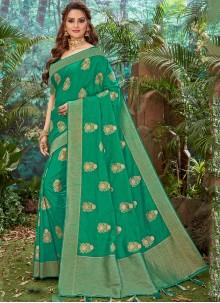 Green Silk Weaving Designer Saree