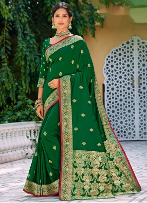 Green Weaving Silk Party Saree