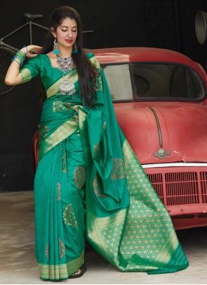 Green Silk Weaving Trendy Saree