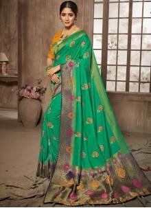 Green Stone Jacquard Silk Traditional Designer Saree