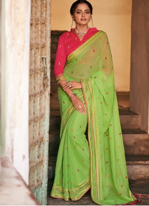Green Stone Work Faux Chiffon Traditional Designer Saree