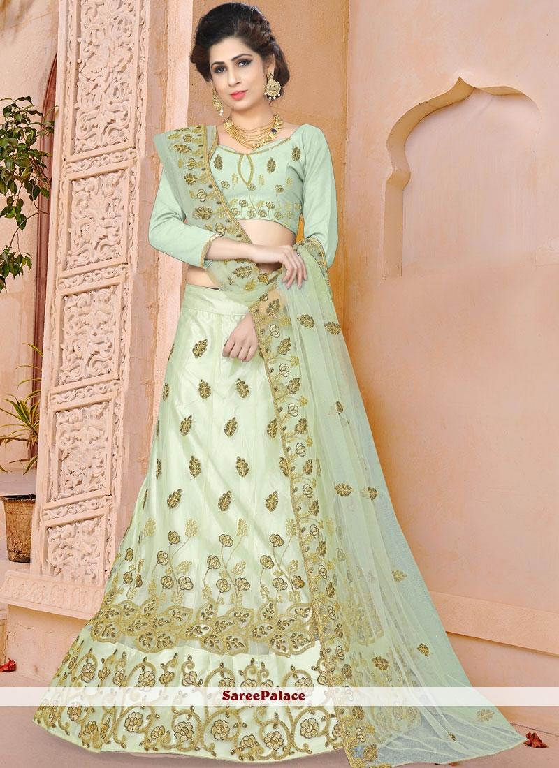 Green Stone Work Net Designer Lehenga Choli