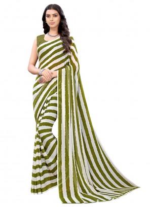 Green Faux Georgette Stripe Print Saree