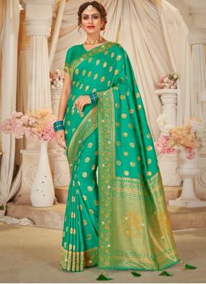 Green Swarovski Festival Traditional Designer Saree