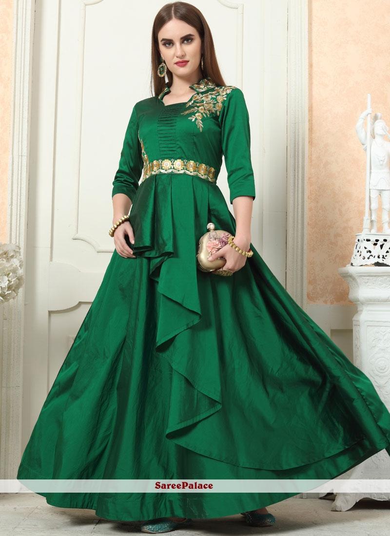Green Tafeta Silk Readymade Designer Gown