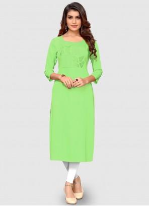 Green Thread Rayon Casual Kurti