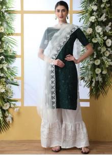 Green Thread Work Designer Palazzo Suit
