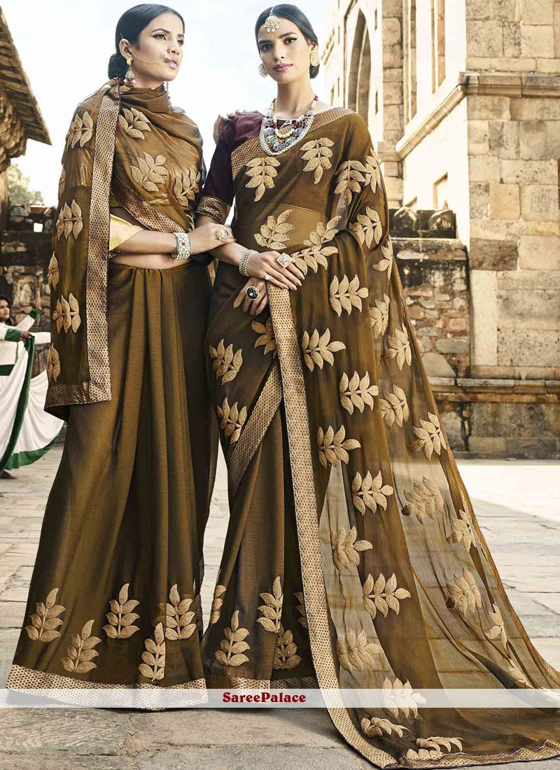 Green Thread Work Party Classic Saree