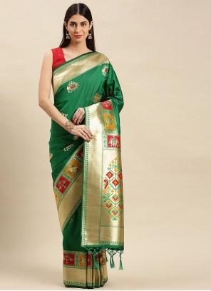 Green Weaving Zari Work Traditional Saree