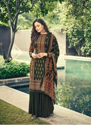 Green Velvet Engagement Designer Pakistani Salwar Suit