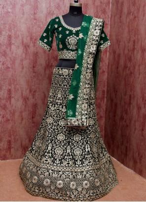 Green Velvet Engagement Lehenga Choli