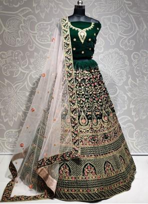 Green Velvet Wedding A Line Lehenga Choli