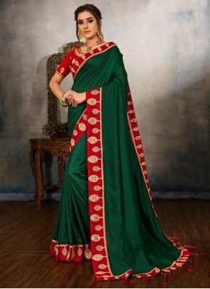 Green Vichitra Silk Embroidered Traditional Saree