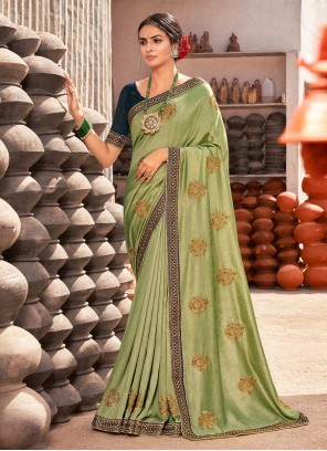 Green Vichitra Silk Festival Trendy Saree