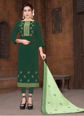 Green Viscose Designer Straight Suit
