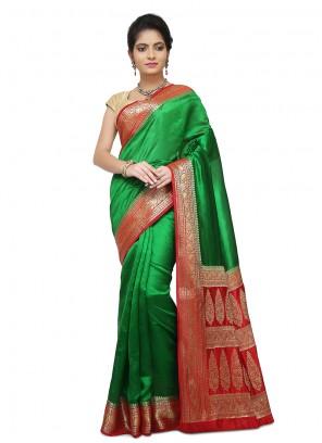 Green Weaving Art Banarasi Silk Designer Traditional Saree