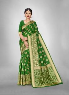 Green Weaving Art Silk Festival Saree