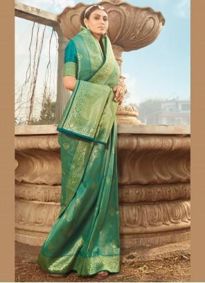 Green Weaving Banarasi Silk Classic Designer Saree