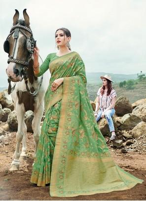 Olive Green Weaving Banarasi Silk Contemporary Saree