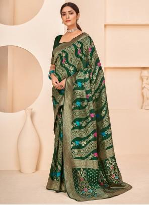 Green Weaving Banarasi Silk Designer Traditional Saree