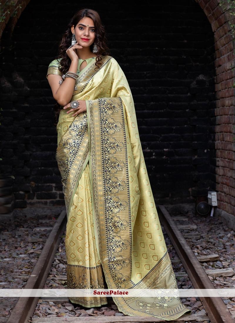 Green Weaving Banarasi Silk Traditional Designer Saree