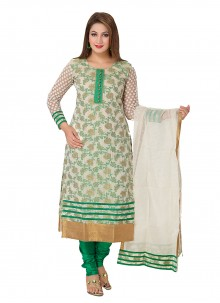 Green Weaving Banarasi Silk Trendy Straight Salwar Kameez