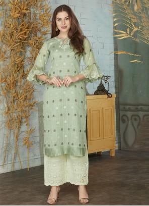 Green Weaving Chanderi Designer Kurti