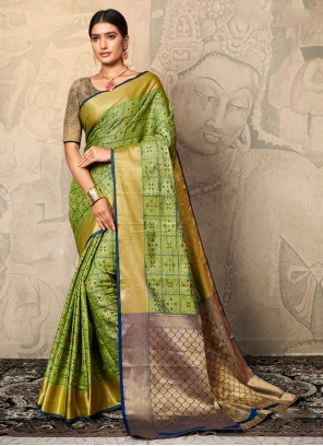 Olive Green Weaving Contemporary Saree