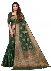 Green Weaving Cotton Casual Saree