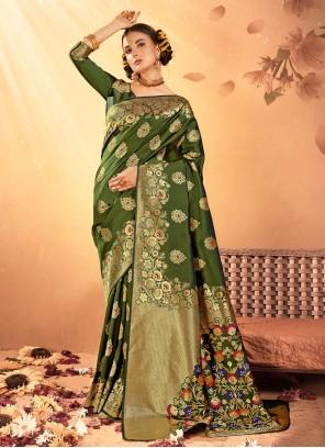 Green Weaving Cotton Silk Designer Traditional Saree