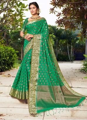 Green Weaving Engagement Designer Traditional Saree