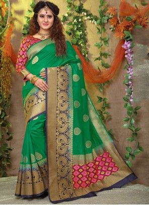 Green Weaving Fancy Fabric Traditional Designer Saree