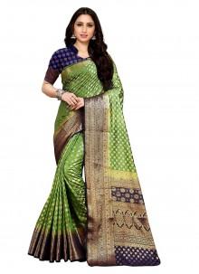 Green Weaving Festival Contemporary Saree