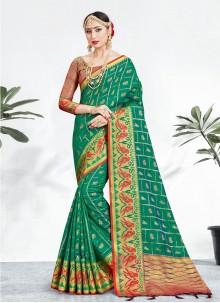 Green Weaving Festival Designer Saree