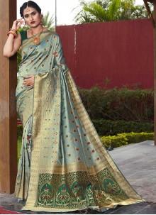 Green Weaving Festival Designer Traditional Saree
