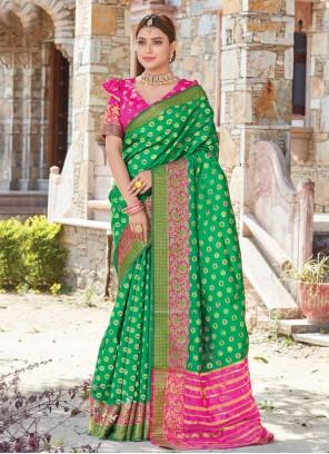 Green Weaving Handloom silk Traditional Designer Saree