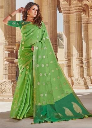 Green Weaving Linen Trendy Saree